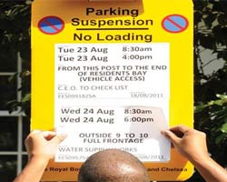 Parking suspension for removals